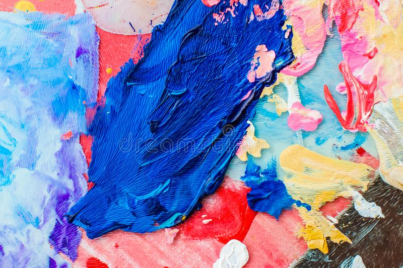 Abstract acrylic paint strokes, art brush flatlay background. Painted texture, artistic backdrop and modern painting concept - Abstract acrylic paint strokes stock image