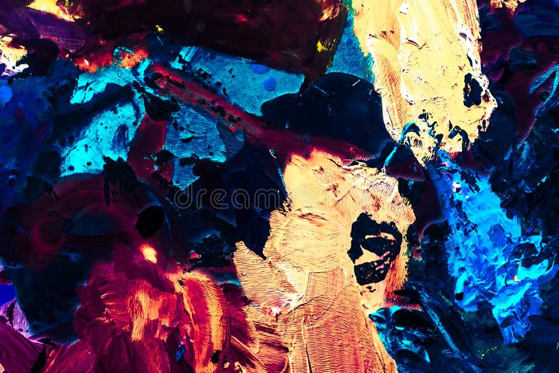 Abstract acrylic paint strokes, art brush flatlay background. Painted texture, artistic backdrop and modern painting concept - Abstract acrylic paint strokes royalty free stock photos
