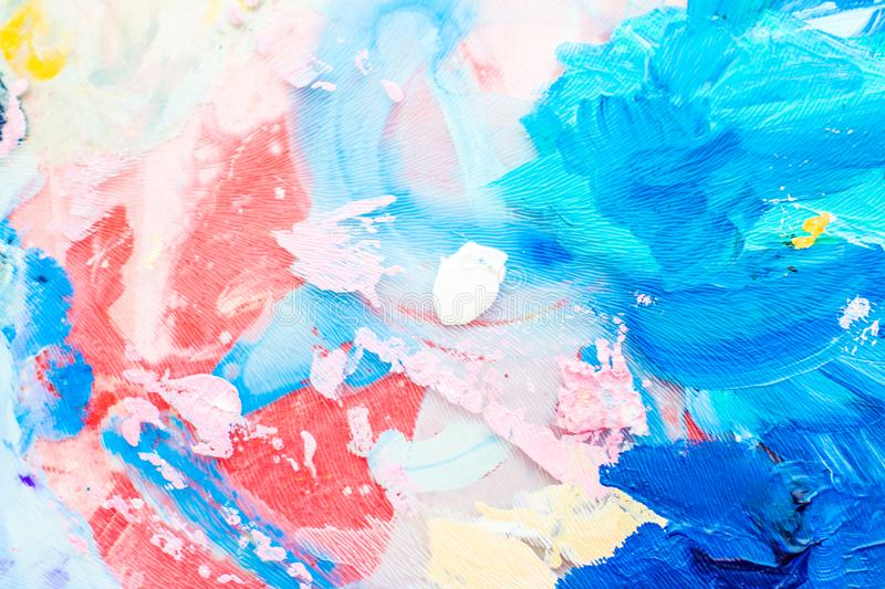 Abstract acrylic paint strokes, art brush flatlay background. Painted texture, artistic backdrop and modern painting concept - Abstract acrylic paint strokes royalty free stock photo