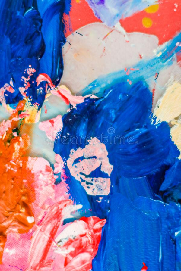 Abstract acrylic paint strokes, art brush flatlay background. Painted texture, artistic backdrop and modern painting concept - Abstract acrylic paint strokes royalty free stock photography