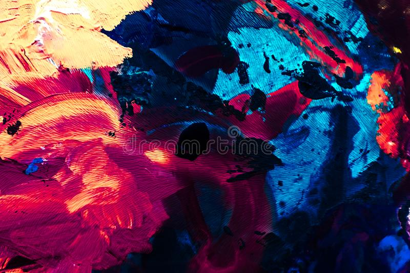 Abstract acrylic paint strokes, art brush flatlay background. Painted texture, artistic backdrop and modern painting concept - Abstract acrylic paint strokes stock photography