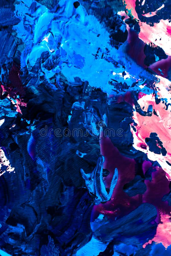 Abstract acrylic paint strokes, art brush flatlay background. Painted texture, artistic backdrop and modern painting concept - Abstract acrylic paint strokes royalty free stock image