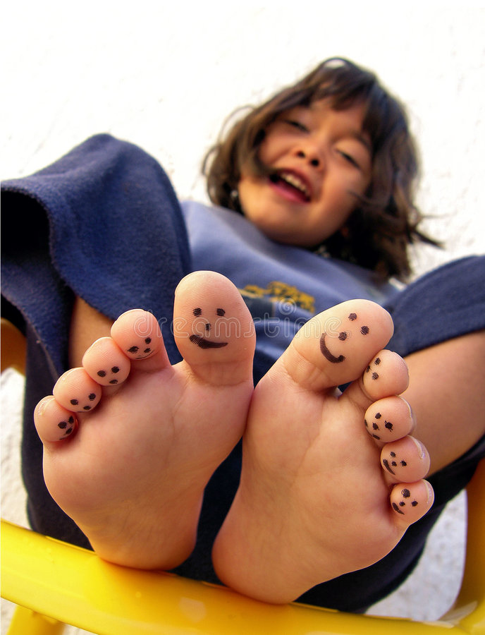 Painted toes royalty free stock image