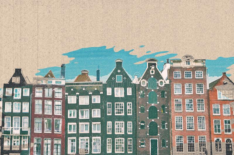 Painted traditional houses in Amsterdam. Pencil drawing. Original design. It can be used as a template for a postcard vector illustration
