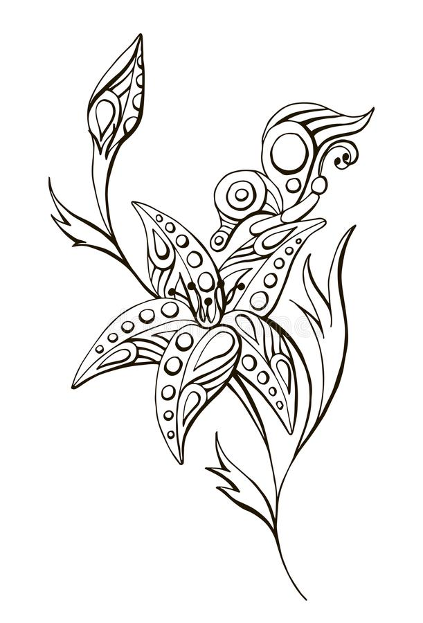 Painted vector linear black and white flower with butterfly stock illustration