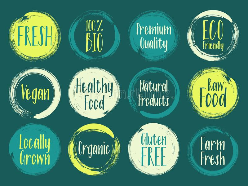 Print. Painted vector organic labels, bio emblems collection for menu or natural products packaging. Fresh, raw food, vegan, gluten free, eco friendly, premium royalty free illustration