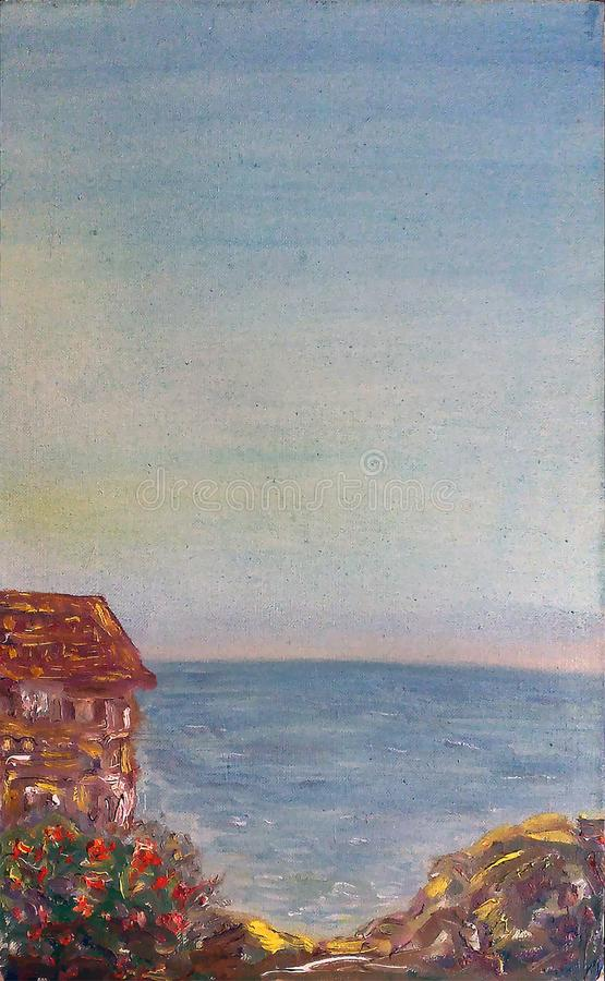 Painted view of the sea, rocky coast in Italia with cute house stock illustration