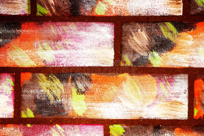 Painted wall imitating decorative multi-colored bricks. Hand made Graffiti Abstract bright background for design royalty free illustration