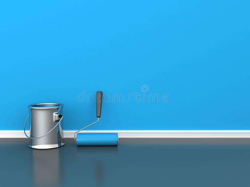 Painted wall with a paint roll with blue paint can vector illustration
