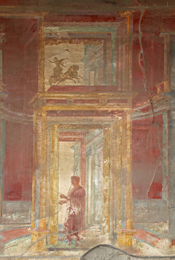 Painted wall in Pompeii city. Italy. stock image
