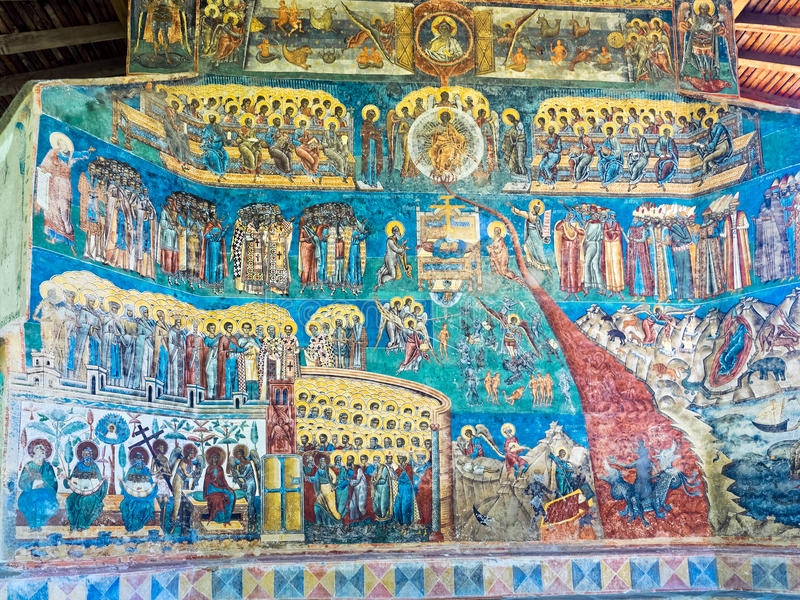 Painted wall at Voronet Monastery in Bucovina, Romania. The Last Judgment scene on the exterior wall at Voronet monastery, Bucovina stock photo