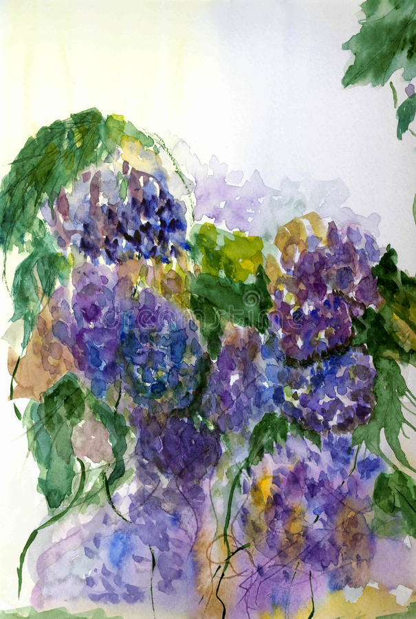 Painted in watercolor bouquet of lilacs . royalty free stock images