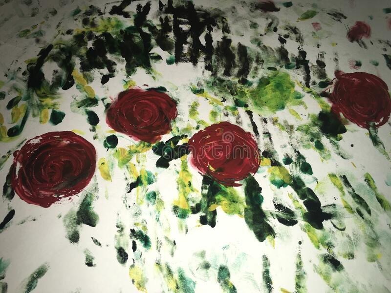 Painted with watercolor paint a bouquet of red roses with green leaves.  royalty free stock photography