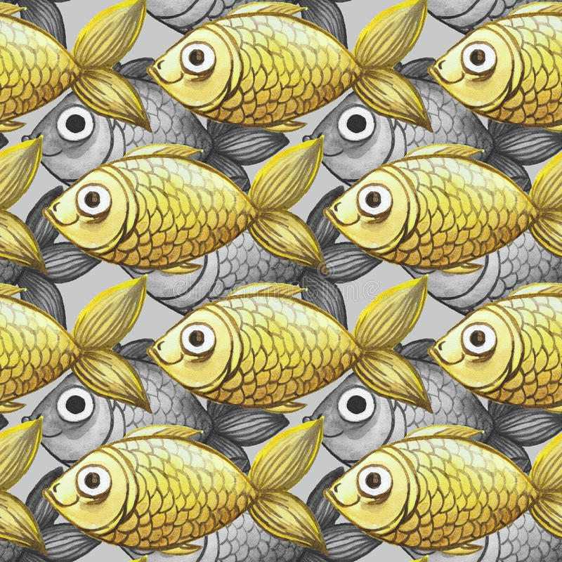 Painted watercolor seamless background, fish black and white with yellow fish, large pattern royalty free illustration