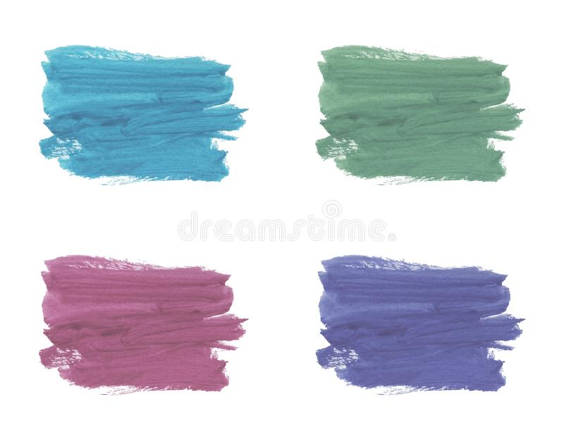 Painted watercolor texture on the white background, acrylic decoration. Set of abstract watercolor brush strokes. stock photos