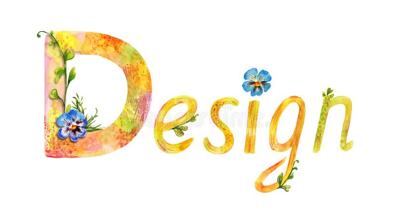 Painted with watercolor the word `Design`. Painted watercolor word `design`. Summer decorative lettering isolated on white. Funny hand-drawn text stock illustration