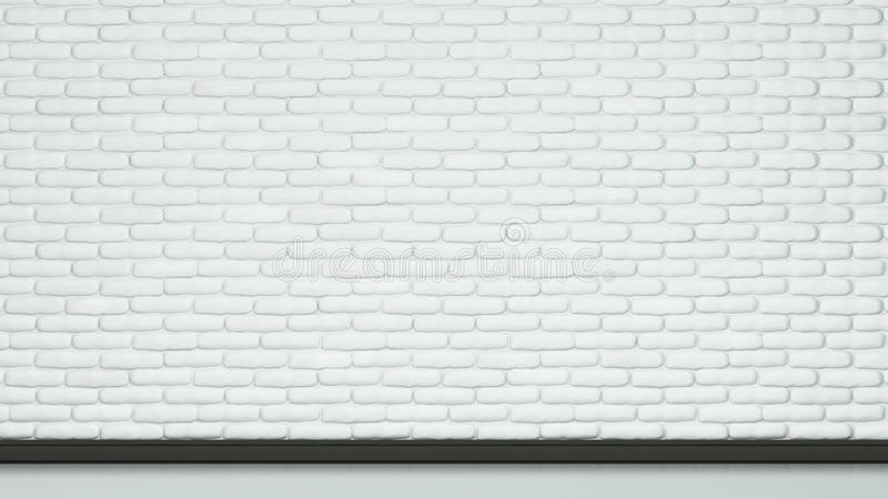 Painted white color brick of wall and floor. stock image