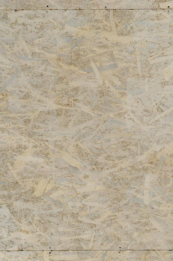 Painted white oriented OSB chipboard texture. Texture, osb, board Top view of OSB wood veneer stained wall backgroun. D royalty free stock photo