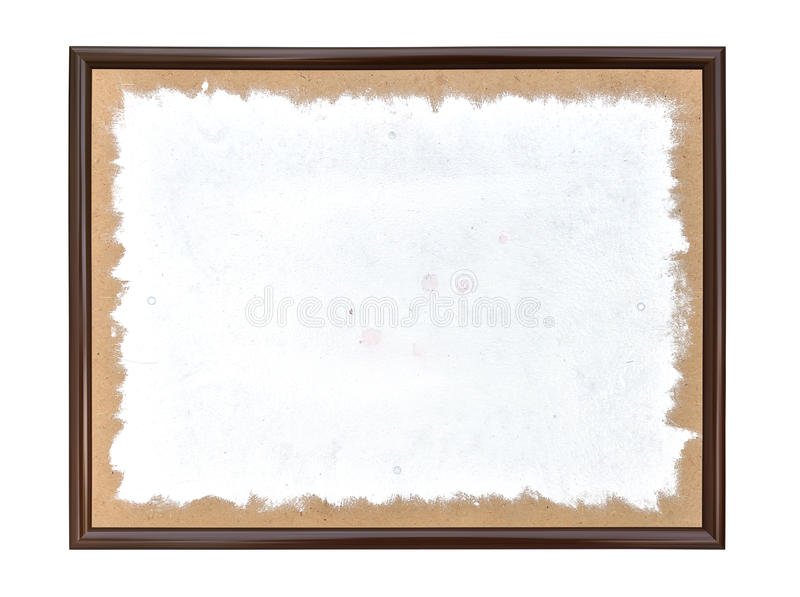 Painted white spot. In a frame on a white background stock image