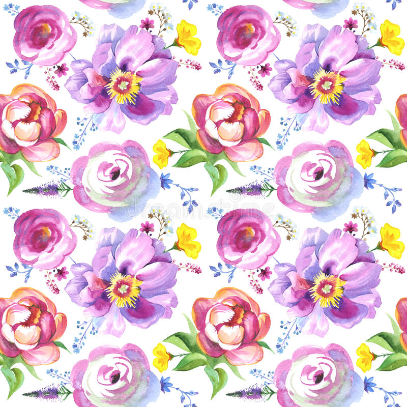Painted wildflower flowers background pattern in a watercolor style. Set includes isolated herbs. Art could be used for tattoo designs, invitations, covers stock image