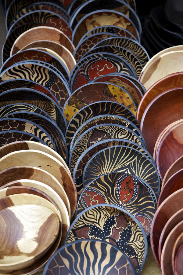 Painted wooden bowls, South Africa royalty free stock photography
