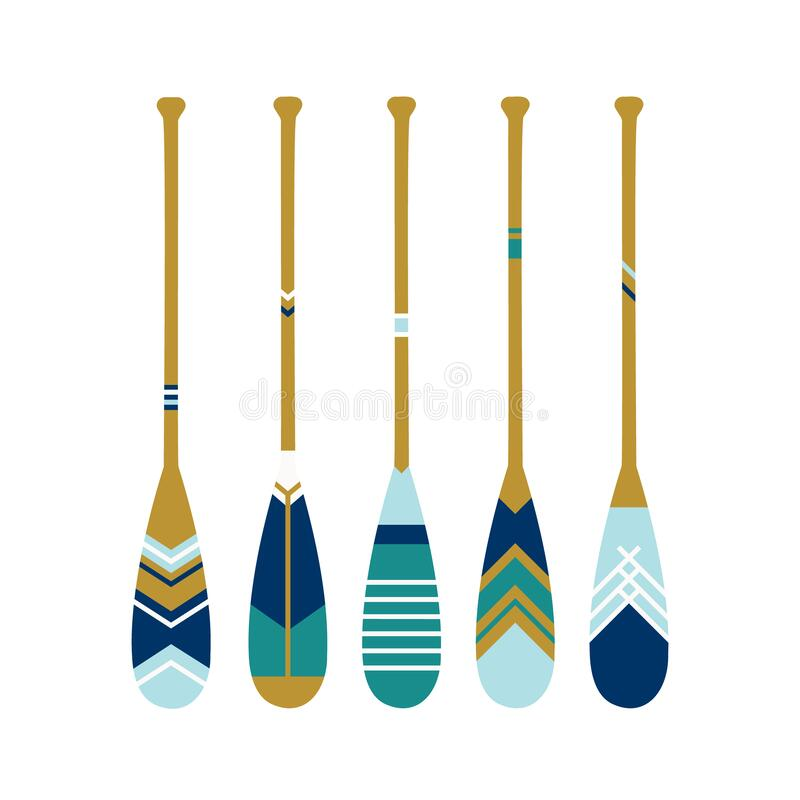 Free Painted Wooden Canoe Oar. Modern And Contemporary Coastal Or Beach Decor. Set Of Paddles In Blue Colors. Vector Illustration On Stock Photo - 187311230