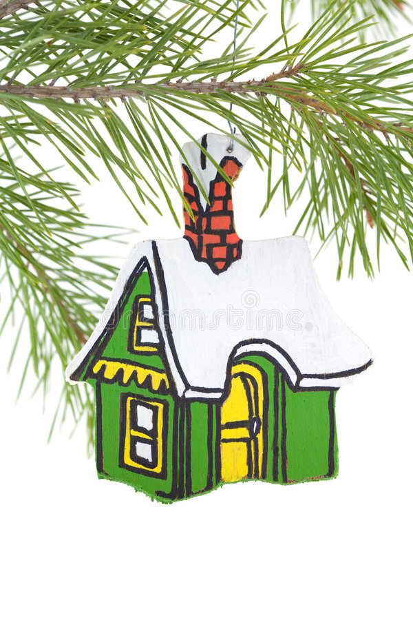 Painted Wooden House Ornament Royalty Free Stock Image
