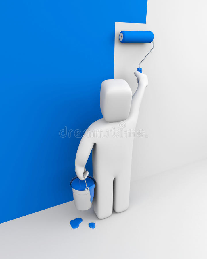 Painter. Manual worker isolated on white vector illustration