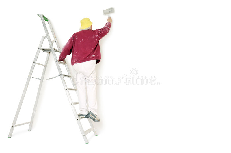 Painter. With ladder on white background royalty free stock photos