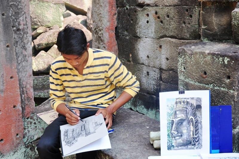 Painter at Angkor,Cambodia stock photo