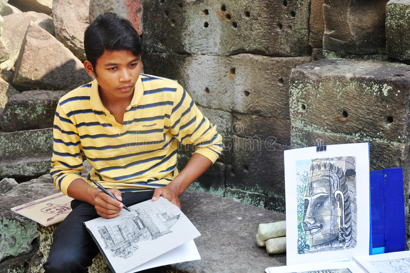 Painter at Angkor,Cambodia royalty free stock photography