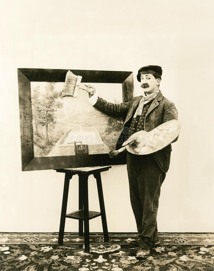 Painter or artist? stock photography