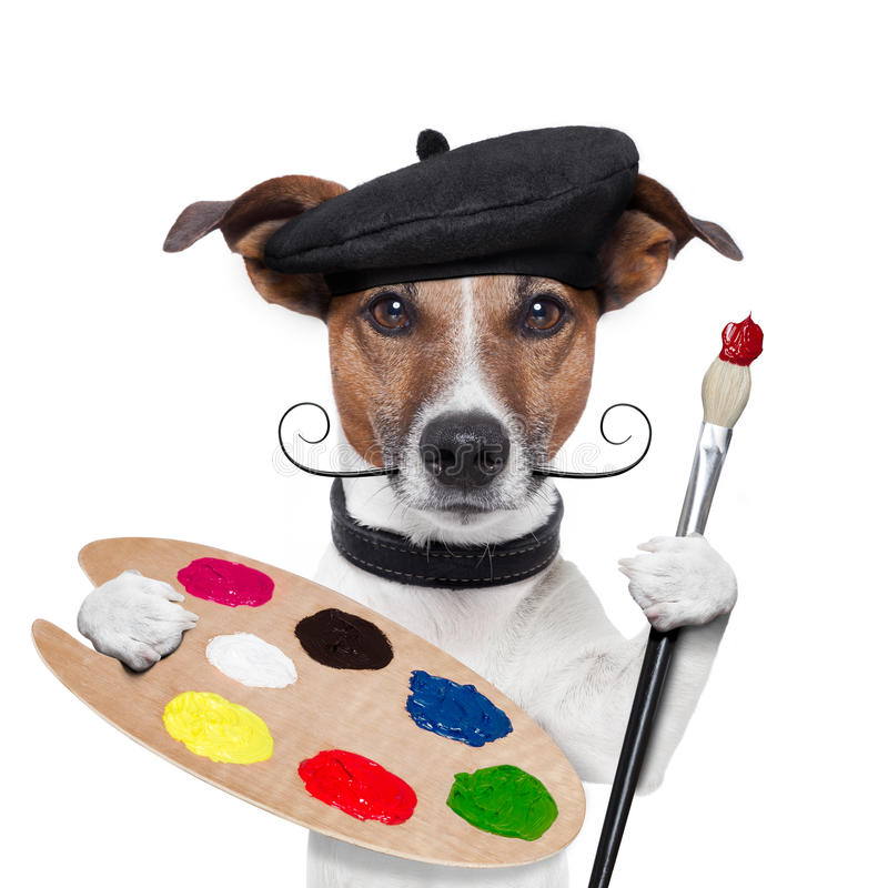 Painter artist dog. Color palette