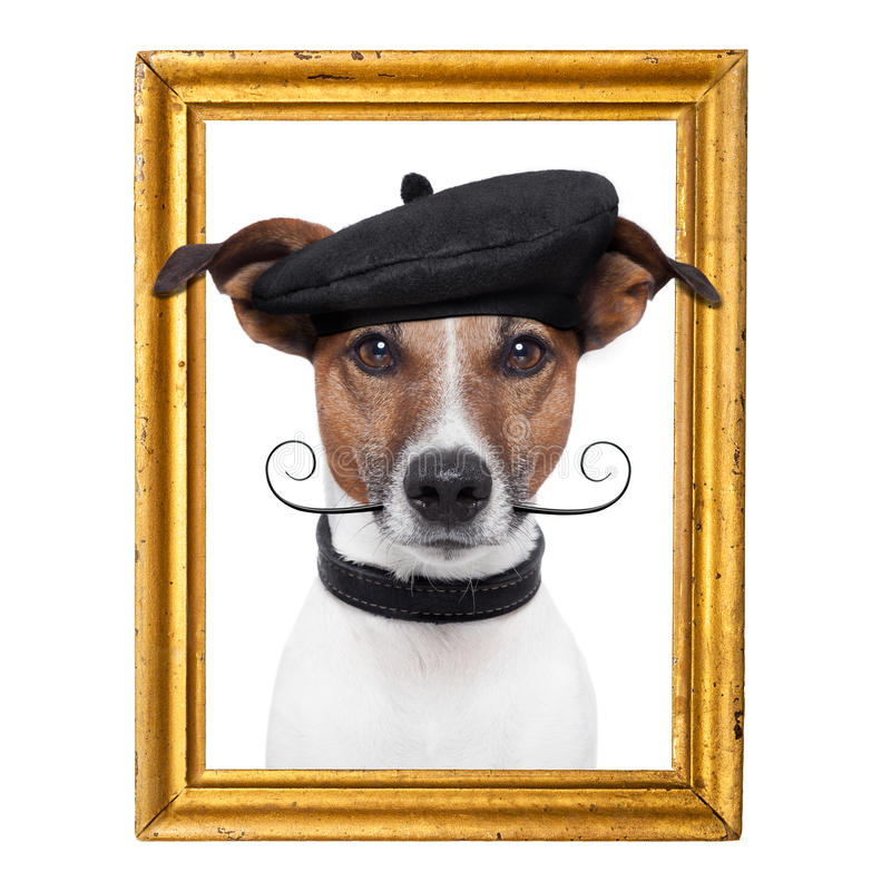 Painter artist frame dog. Inside of it royalty free stock photos