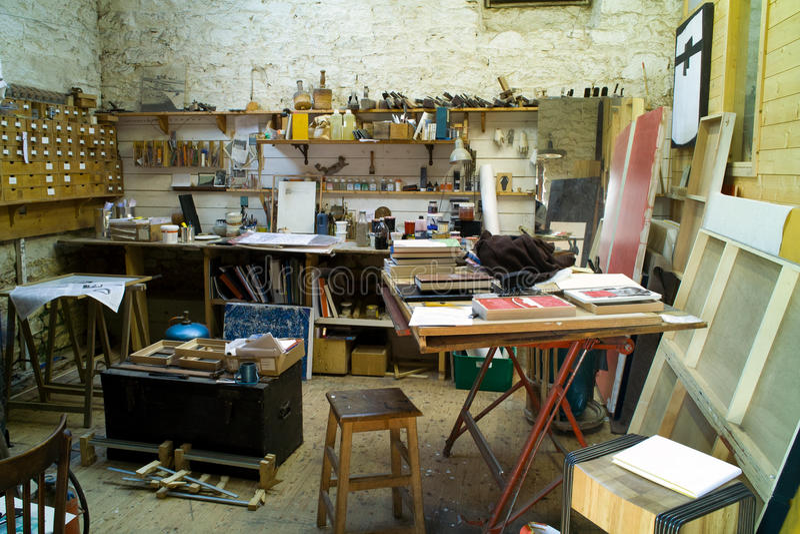 Painter artist studio. Interior of painter artist studio stock images