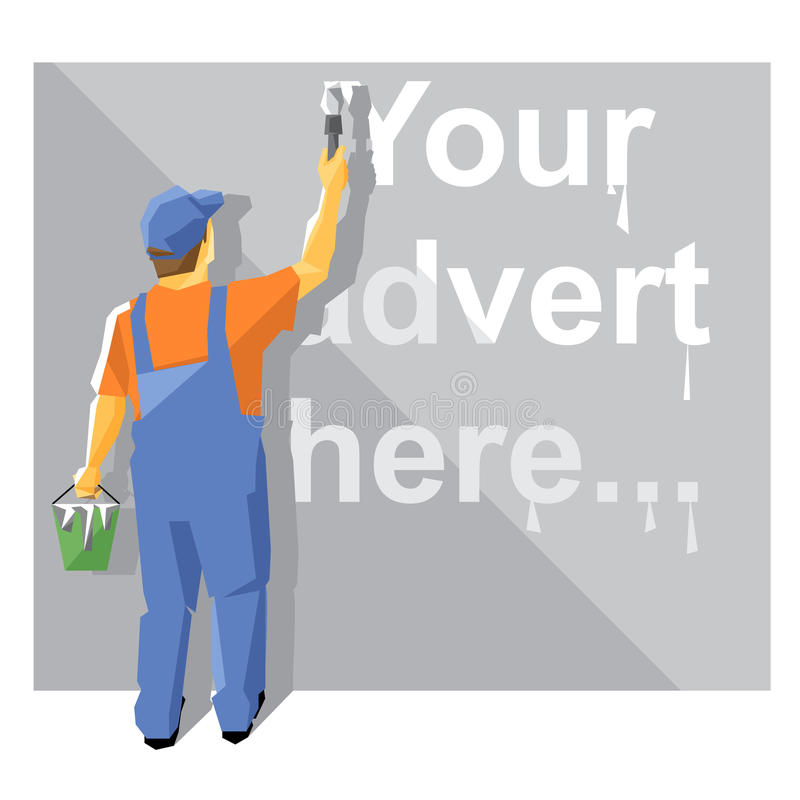 A painter in blue and orange suit with a hat royalty free illustration