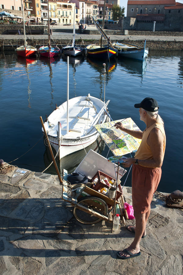 Painter Collioure France royalty free stock photography
