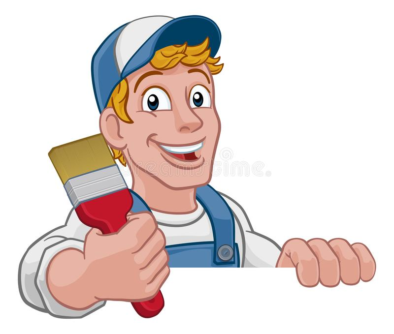 Painter Decorator Sign Stock Vector: Cartoon Painter Pointing Down At Banner Stock Vector