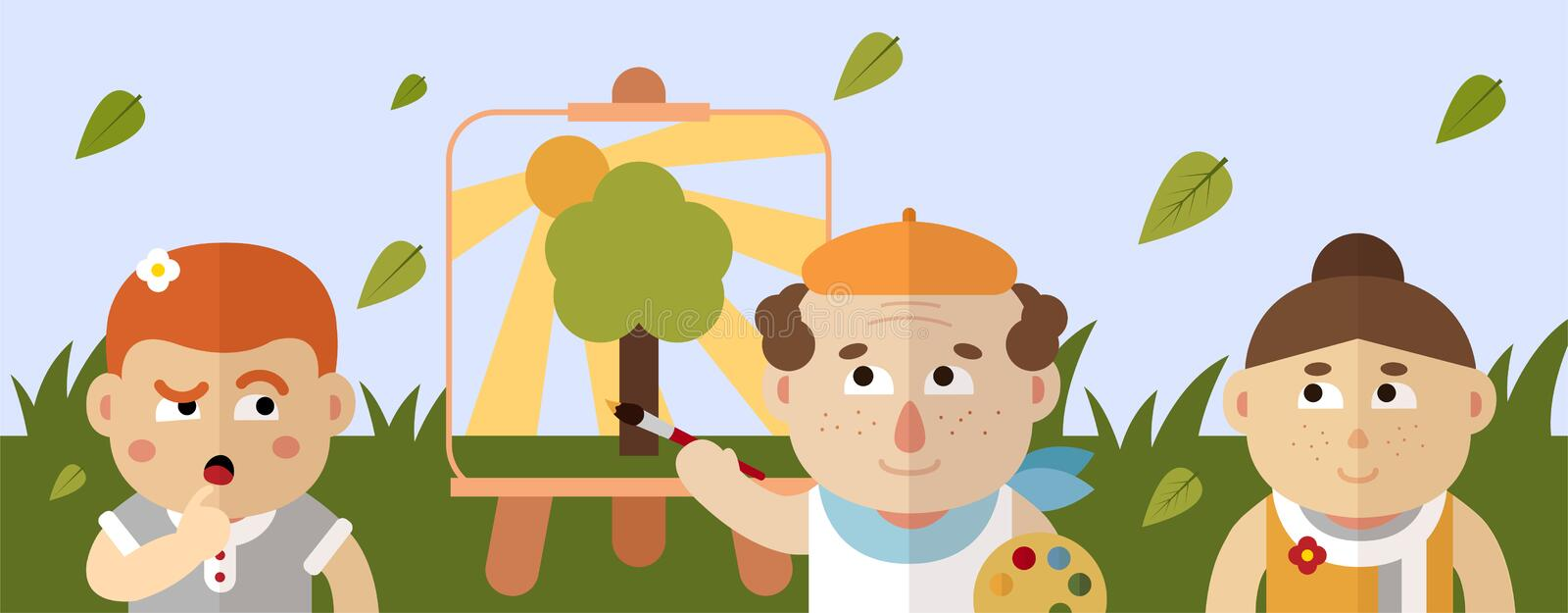 The painter draws a summer landscape with a lights of a sun, grass and tree. vector illustration