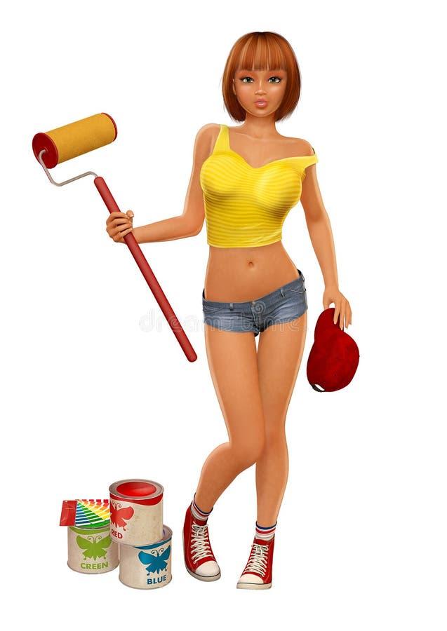 Painter Girl Stock Image