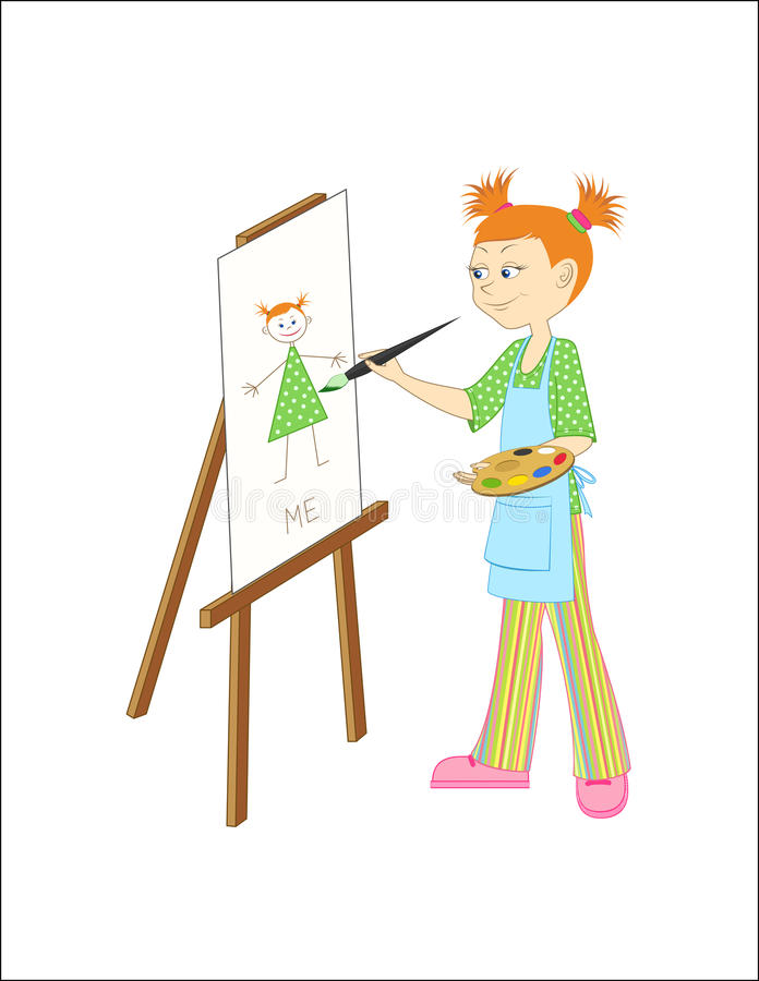 Painter girl royalty free illustration