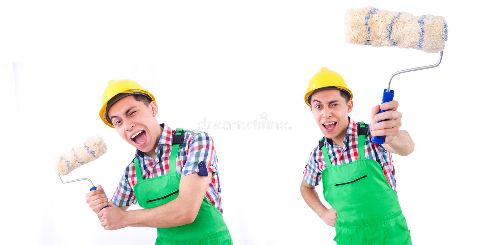 The painter in green coveralls on white. Painter in green coveralls on white stock photos