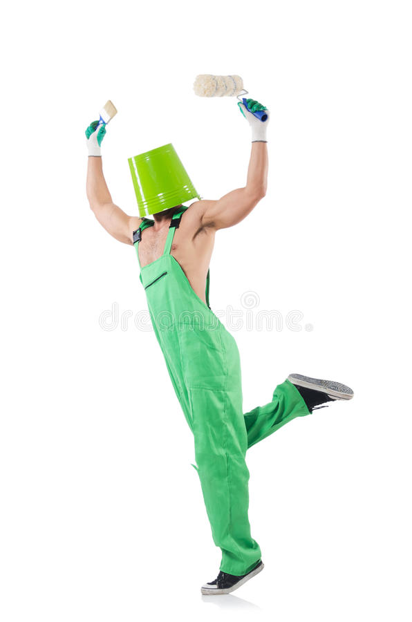 Download Painter in green coveralls stock image. Image of interior - 33494253