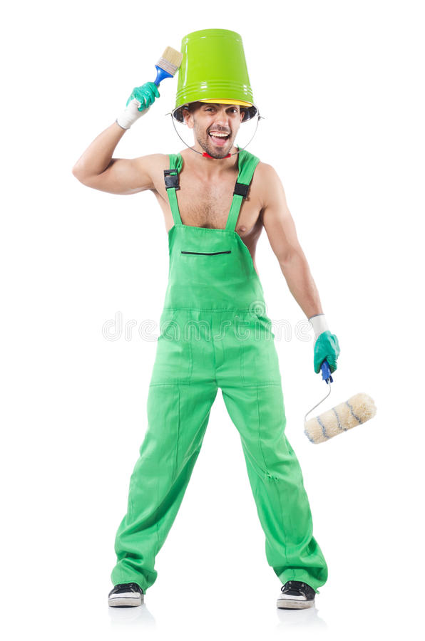 Download Painter in green coveralls stock photo. Image of improvement - 33494254