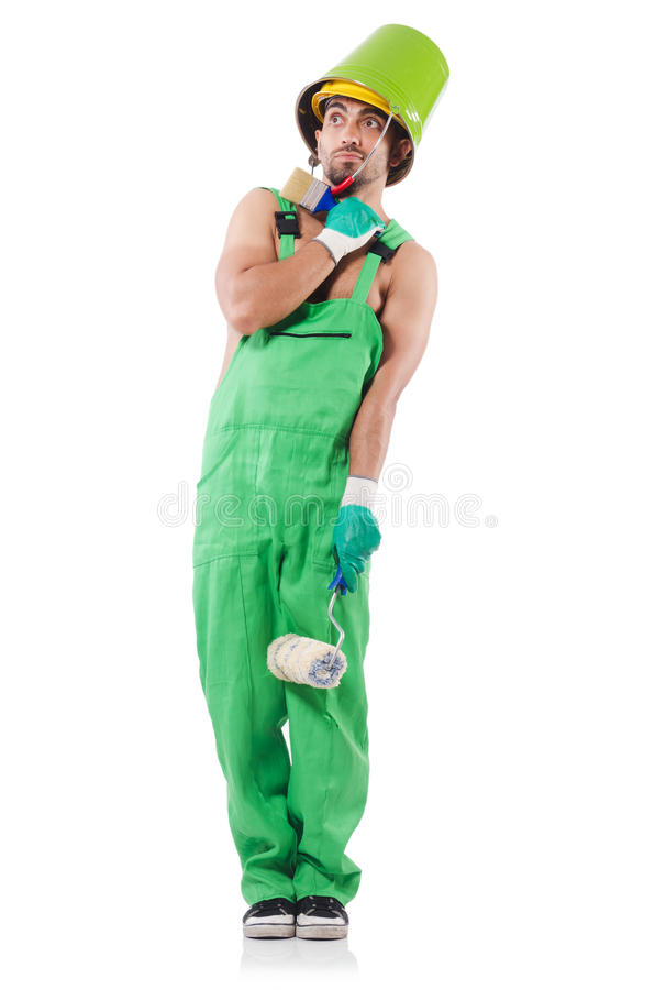 Painter In Green Coveralls Royalty Free Stock Photo