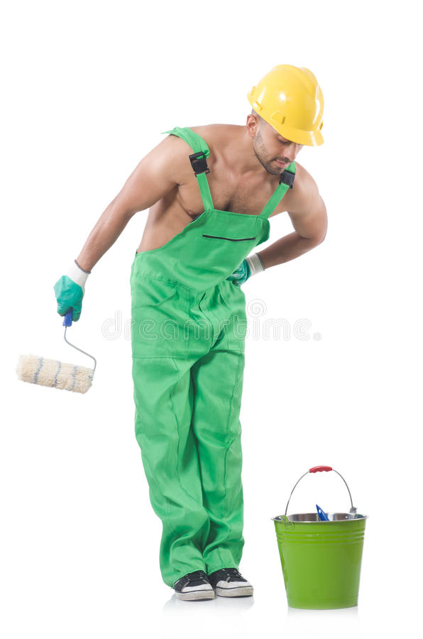 Download Painter in green coveralls stock image. Image of decoration - 33679921