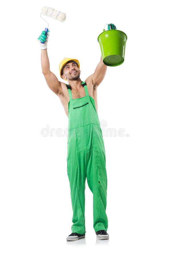 Download Painter in green coveralls stock photo. Image of interior - 34869102