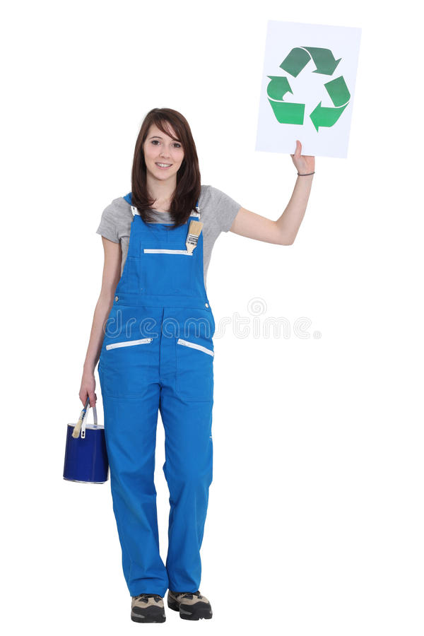 Download Painter Holding Recycling Logo Stock Photo - Image: 27190024