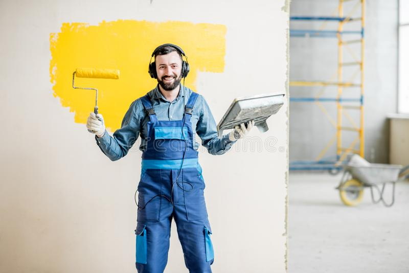 Painter listening to the music during the work royalty free stock photos