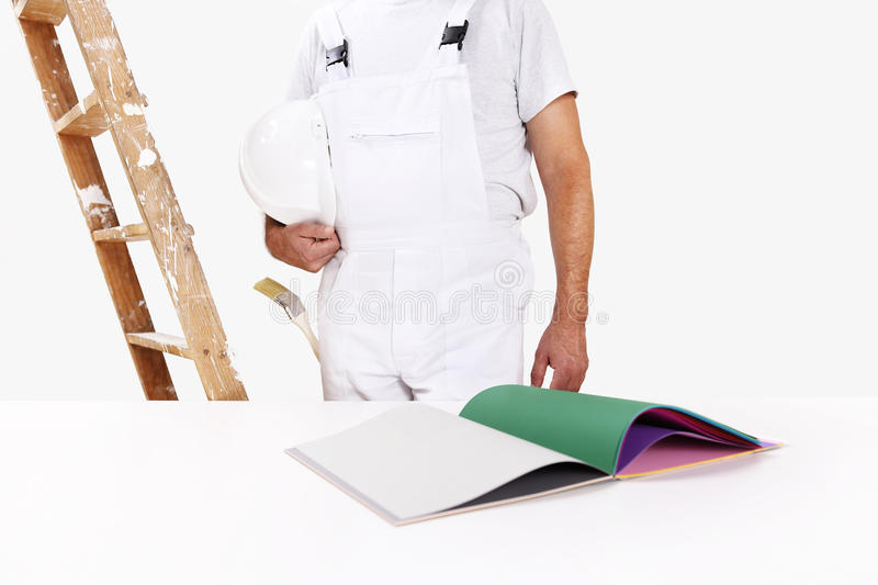 Painter man, concept choose color from samples stock images
